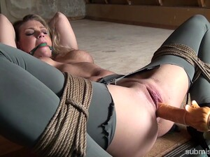 Blonde Model Gets A Ball Gag In Her Mouth And A Dildo In Her Pussy