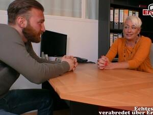 German Blonde Mature Mom Secretary Seduced