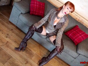 Sexy Mature British Redhead Teases In Her Crotchless Pantyhose Before Masturbating