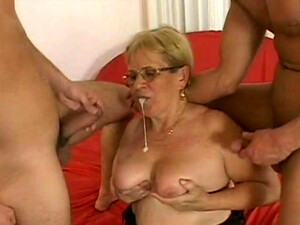 Old Blond Haired Whore With Hefty Body Pleases Two Young Dudes