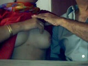Old Indian Wife Strokes My Cock And Gets Her Tits Rubbed On Webcam