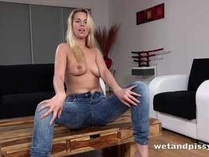 This Slim Blonde Loves To Pee While Still Wearing Jeans And She's So Sexy