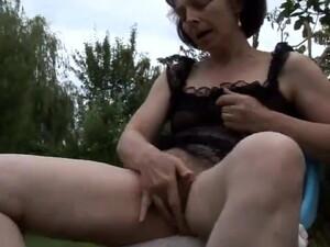 Old Mature Masturbating In Garden