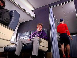 Slutty Tattooed Blonde Stewardess Fucking In First Class