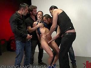 Brunette Gets Tied Up In Bukkake Gangbang