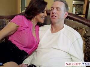 Craving For Sex Wife Francesca Le Seduces Her Husband Mark Wood Watching His Favorite Game