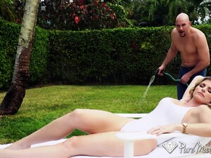 Happy Married Couple Having Sex Fun By The Pool