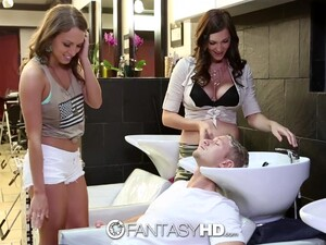 Two Sexy Hairdressers Seduce Their Client Into Having A Hot FFM Threesome