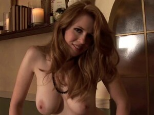 Jillian Kaye The Hot Redhead Girl Lies On The Bed With Her Legs Wide Opened