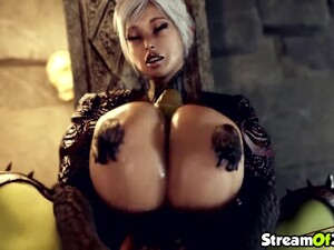 Blonde Babe Giving Perfect And Splendid Titjob To This Lucky Orc Guy With Huge Dick