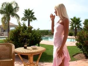 Salacious Blonde Slut Fingering Her Pussy Outdoors