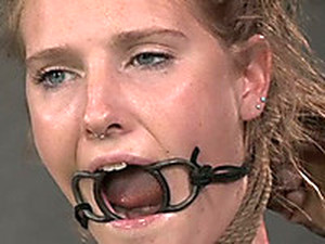 Blonde Slave With A Ring Gag In Her Mouth Is Bounded And Punished