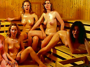 That Lucky Guy Goes In The Sauna Full Of Sexy Horny Babes