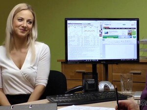 Blonde Lassie Gives Herself To Agent In Office In Loan Porn