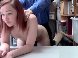 Redhead April Hides Stolen Items Very Well From Horny Officer
