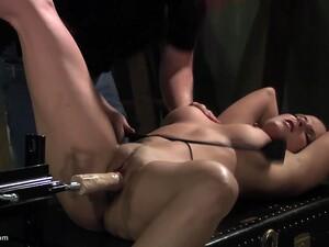He Tests His Brand New Dildo Machine On His Bondaged Slave