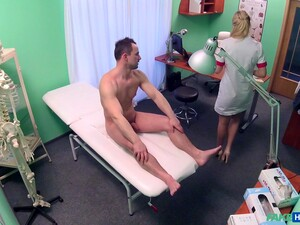 Horny Blonde Nurse Gives Amazing Head To The Doctor Before Sex