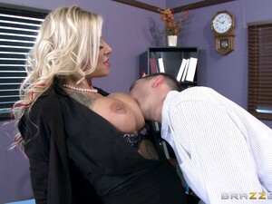 A Big Titty Gal In Black Fishnet Enjoys Thrilling In Various Positions