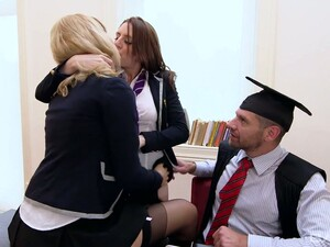 One Lucky Dude Fucks Two Awesome College Chicks And Feeds Them With Cum
