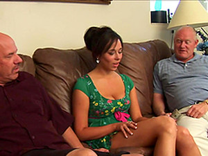 A Rough Threesome For A Kinky Brunette Teen With Old Cocks