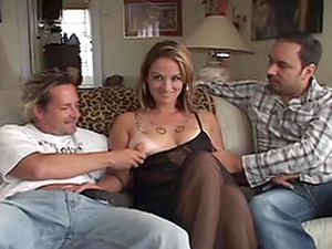 Slutty Bitch Taks Cock From Two Dudes