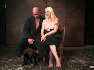 Hot Blonde Dominates Guy And Plays With His Dick In Femdom BDSM Vid