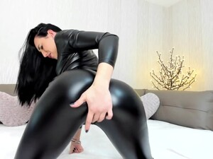 Melissa90Sweet Leather Bodysuit Orgasm