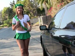Yummy Blonde Liza Rowe Takes Off Her Panties To Stop A Car
