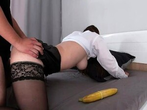 MILF IN LEATHER SKIRT TEACH ME SEX BUT ONLY GOT CUM (POV 60 FPS)