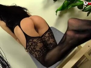 Horny Playmate In Pantyhose Shows Her Pussy And Feet