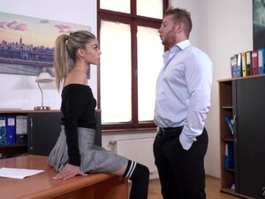 French Petite Chick Ciara Riviera Is Fucked In Mouth And Anus In The Office