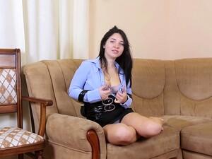 Petite And Busty Ukrainian Hottie Tanita Loves Masturbating On Her Couch