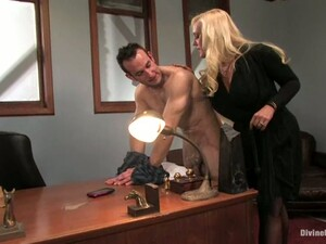 Dominated Guy Gets Strapon Fucked By Big Boobed Alexis Golden In Office