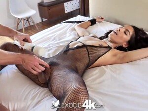 Lady In Sexy Black Nylon Lingerie Is More Than Ready For Cock Ride
