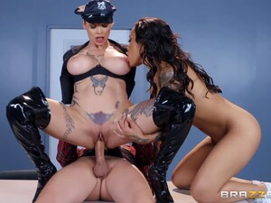 Interracial Leather Anal Threesome With Anna Bell Peaks And Honey Gold