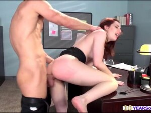Hot Secretary With Redhead Gets Her Pussy Plowed