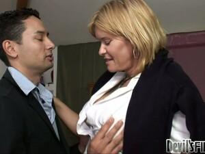 Shemale Teacher Enjoys  Her Student Sucking Her Cock