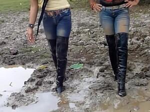 Two Thai Swim In Mud