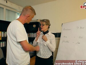 German Mature Milf Seduced Younger Guy In Office