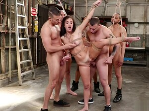 Tied Babe Is Dp Gangbang Fucked