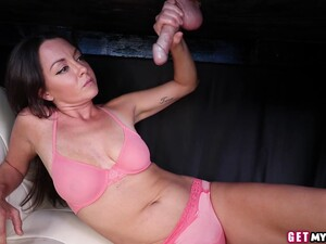 Lingerie Masseuse Tugs From Underneath