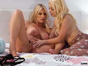 Petite Blonde Helps Busty Stepmom Get Off And Licks Her Cunt