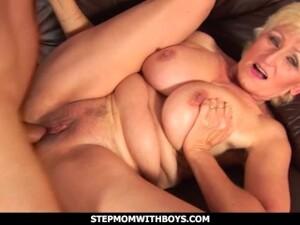 StepmomWithBoys - Busty Old Stepmom Fucks Stepson In The Bathroom