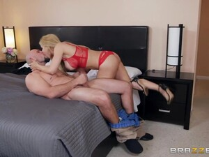 Blonde Sarah Vandella Gives A Blowjob To Bald Headed Guy And He Fucks Her Tight Hole