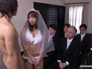 Hot Japanese Bride Gives Her Fiance A Hot Blowjob On Their Wedding Day