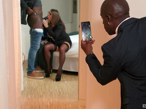 Black Dude Films His Wife Taking Another BBC In Her Ass