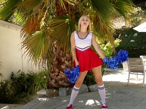 Blonde Cheerleader Courtney Shea Drops Her Uniform To Ride A Cock
