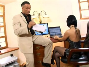Sultry Secretary Renata Black Gives An Oral Presentation To Her Boss