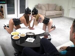Two Kinky Beauties In Sexy Outfits Engage In A Hot FFM Threesome