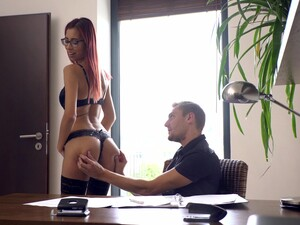 Tall Redhead Shows Off At The Office For Nothing But Sex